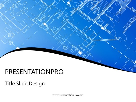 Blueprint Design Powerpoint Template Background In Architecture