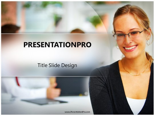 Business Woman Smile Powerpoint Template Background In