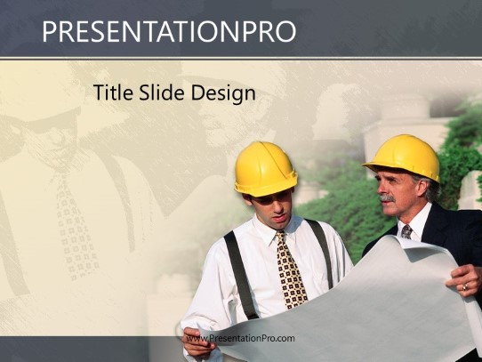 Engineers PowerPoint template background in Construction PowerPoint