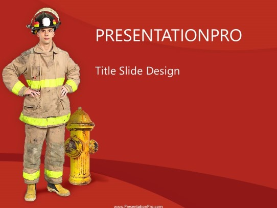 fireman and hydrant powerpoint template background in industry