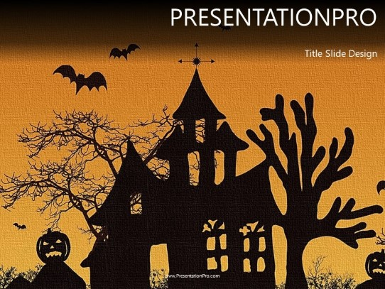 Haunted House PowerPoint template background in Holiday and