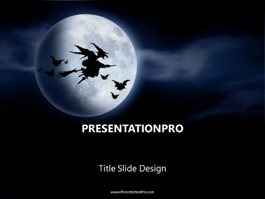 Witchy Moon Powerpoint Template Background In Holiday And