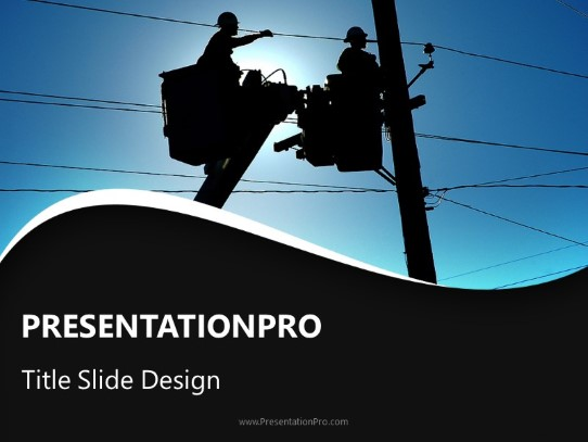 Working Linemen PowerPoint template background in Industry