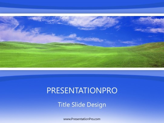 Green Field Blue Powerpoint Template Background In Nature