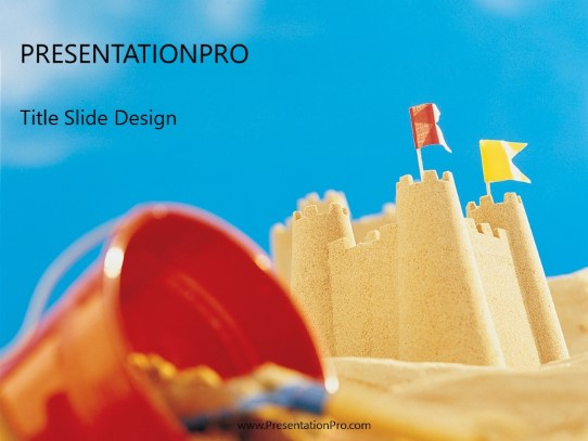 Sand Castle Powerpoint Template Background In Tourism