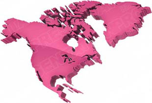 Download High Quality Royalty Free Map North America Pink
