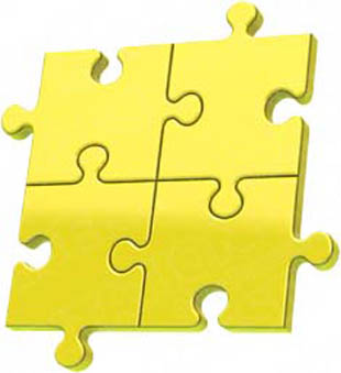 Download High Quality Royalty Free Puzzle 4 Yellow PowerPoint