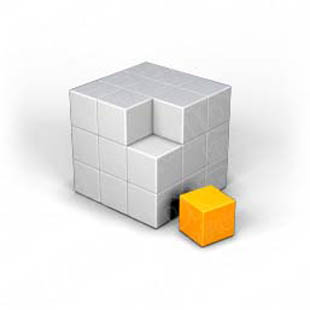 Download puzzle cube 3 orange PowerPoint Graphic and other software plugins for Microsoft PowerPoint