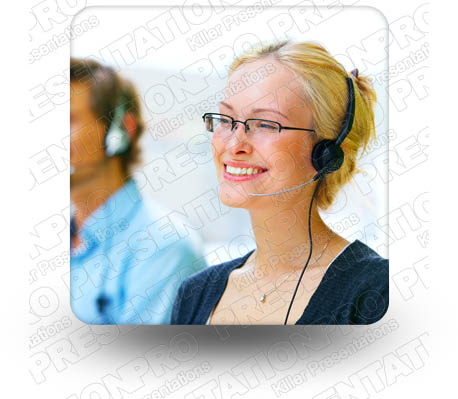 Woman HeadSet 02 Square PPT PowerPoint Image Picture