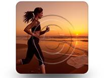 Woman Beach Run 01 Square PPT PowerPoint Image Picture