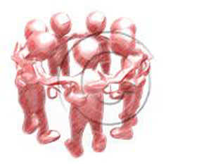 Download High Quality Royalty Free 558 3D people-Team Huddle sketch