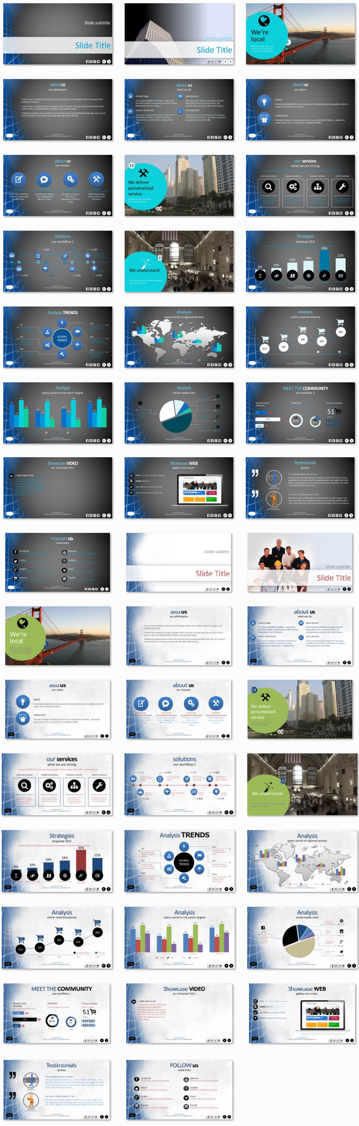 Power Presentation: Abstract Grid PPT Premium PowerPoint Presentation Template Slide Set