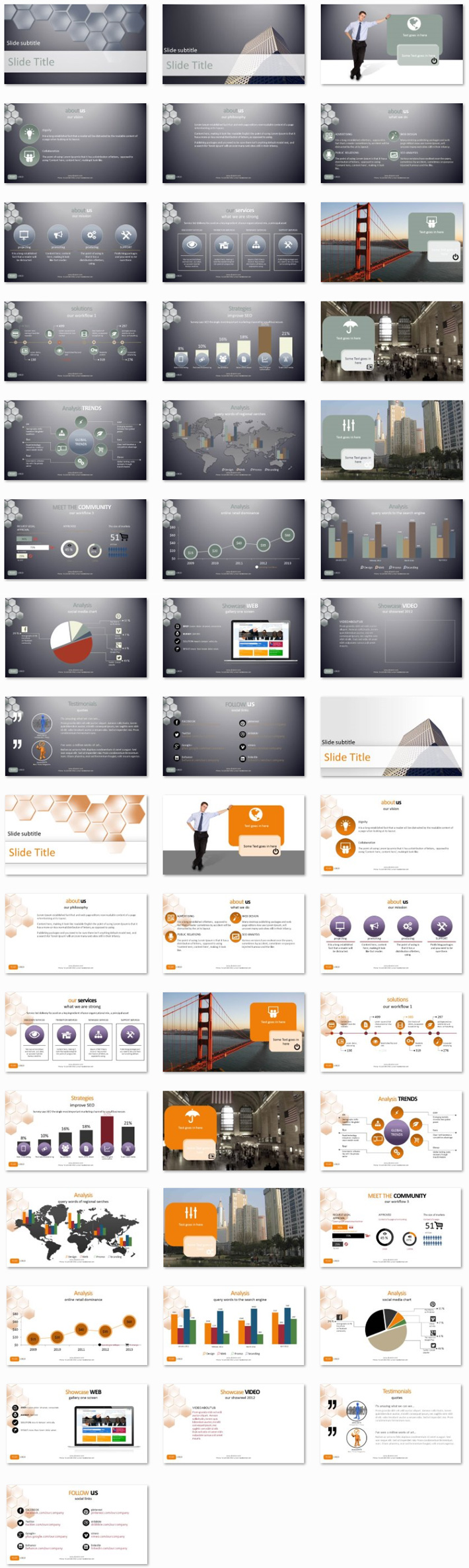 Power Presentation: Abstract Honeycomb PPT Premium PowerPoint Presentation Template Slide Set