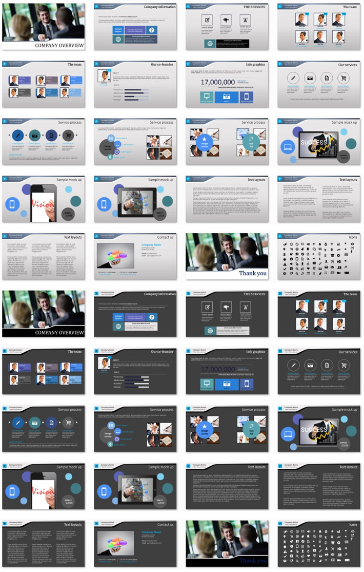 Power Presentation: The Business PPT Premium PowerPoint Presentation Template Slide Set