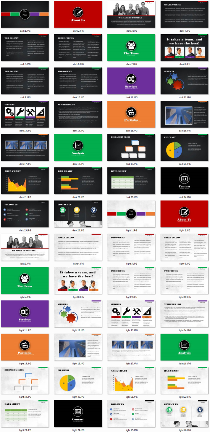 Power Presentation: The Pitch PPT Premium PowerPoint Presentation Template Slide Set