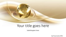 Global Swirls Gold Widescreen Powerpoint Template Background In