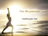 yoga on the beach powerpoint template background in sports and, Presentation templates