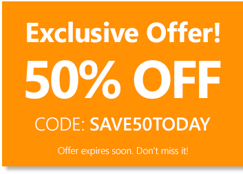 use code save50today to save 50% off your entire order!